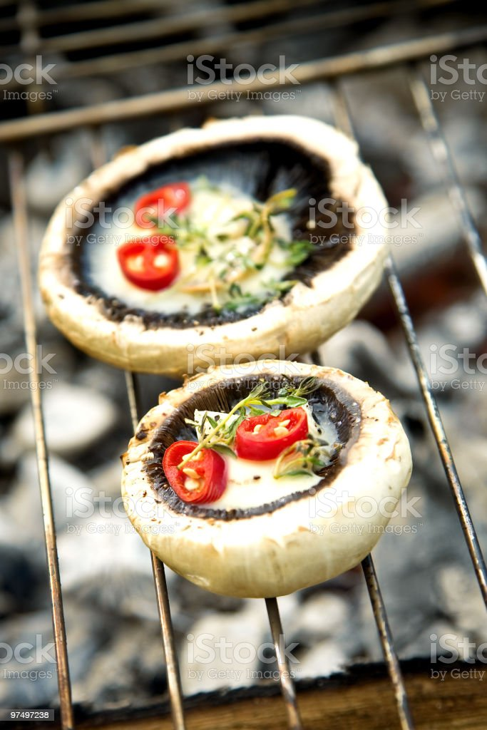 Grilled Mushrooms royalty-free stock photo