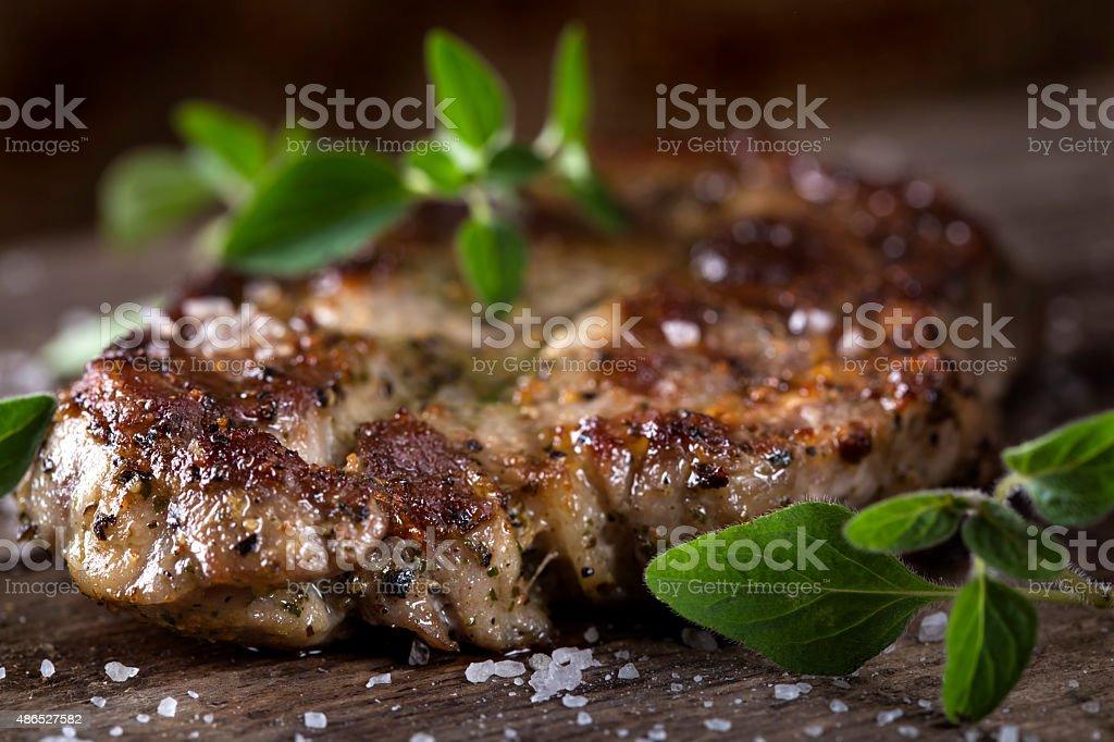 Grilled neck pork stock photo