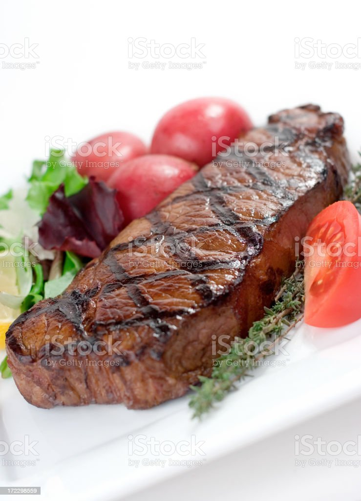 Grilled New York Steak stock photo