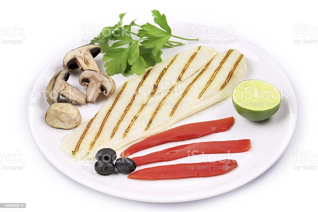 Grilled pangasius fillet on plate. royalty-free stock photo