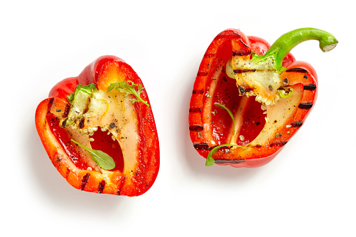grilled paprika isolated on white background, top view