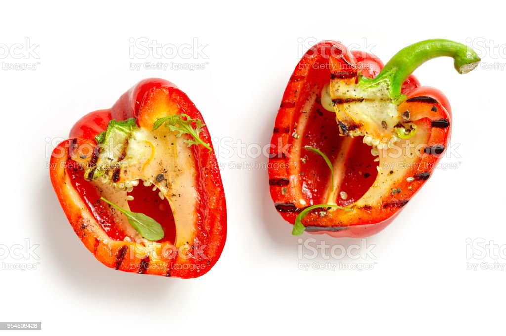 grilled paprika isolated on white stock photo