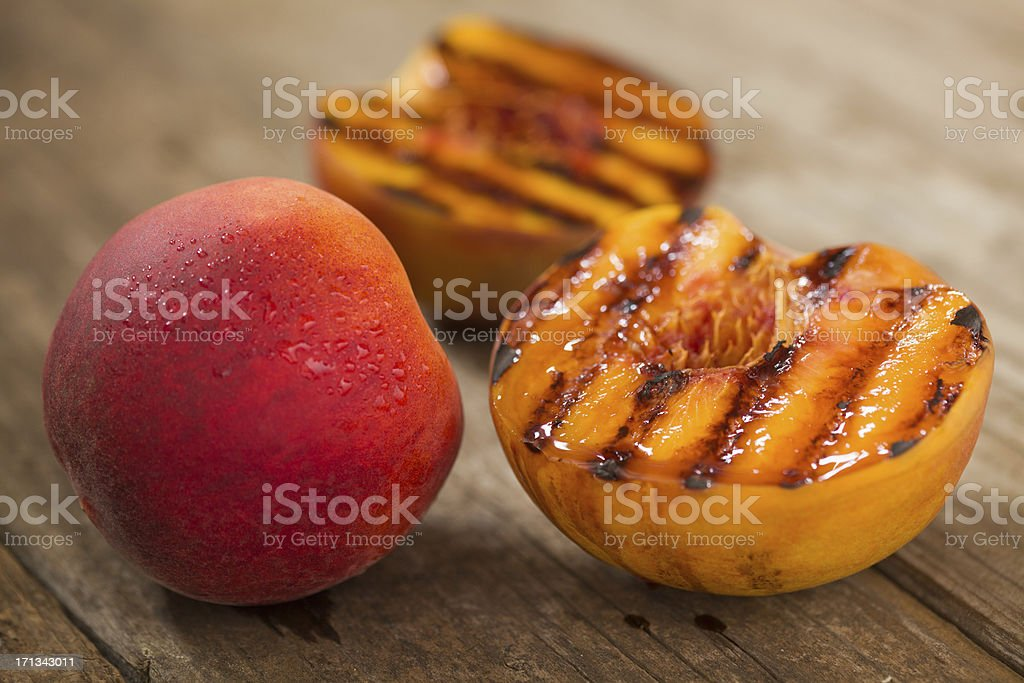 Grilled Peaches stock photo