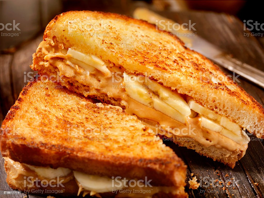 Grilled Peanut Butter and Banana Sandwich stock photo