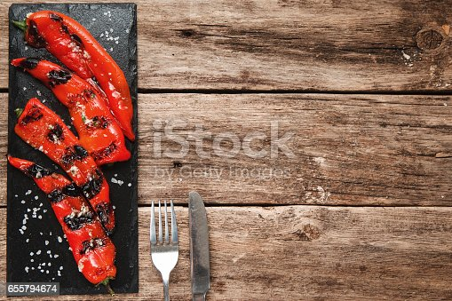istock Grilled pepper, vegetarian food free space 655794674