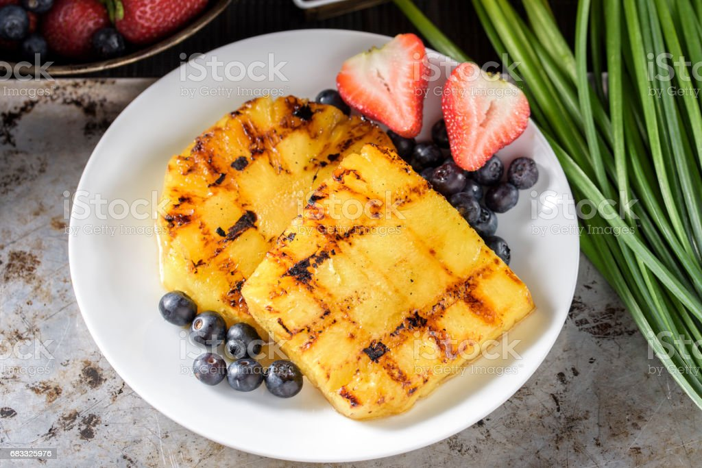 Grilled Pineapple with Yogurt royalty-free stock photo