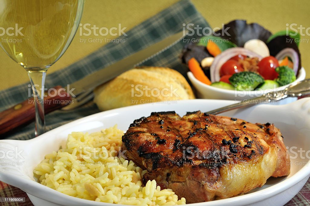 Grilled Pork Chop Meal royalty-free stock photo