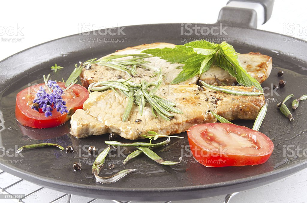 grilled pork chop with herbs royalty-free stock photo