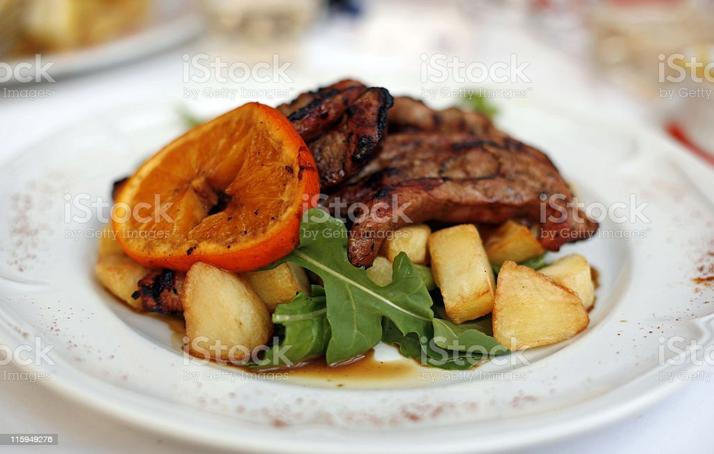 Grilled pork chops royalty-free stock photo