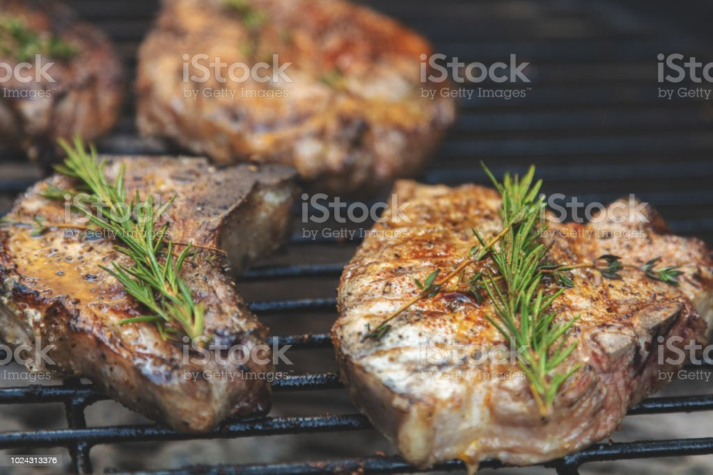 Grilled Pork Chops with Spices and Herbs in Western Colorado stock photo
