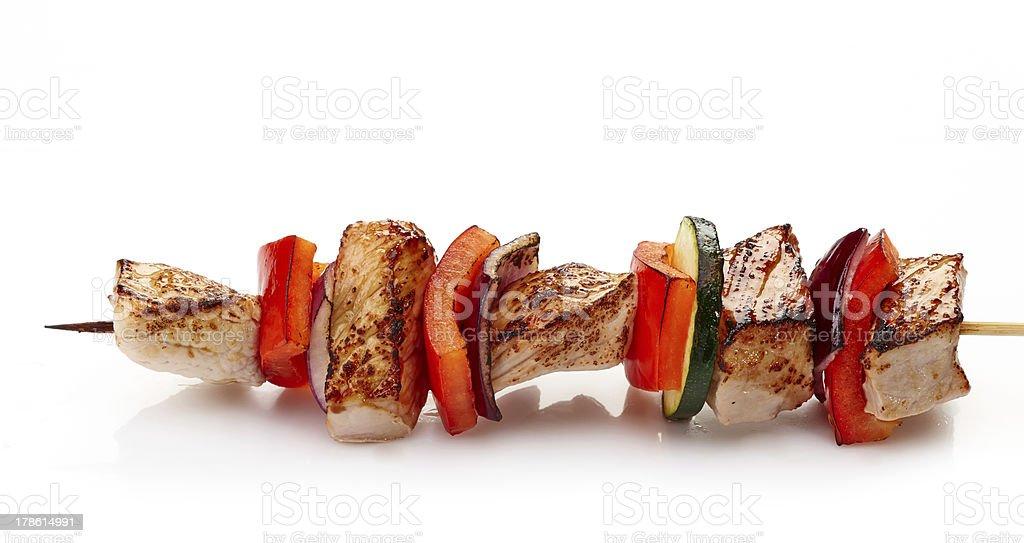 grilled pork fillet and vegetables stock photo