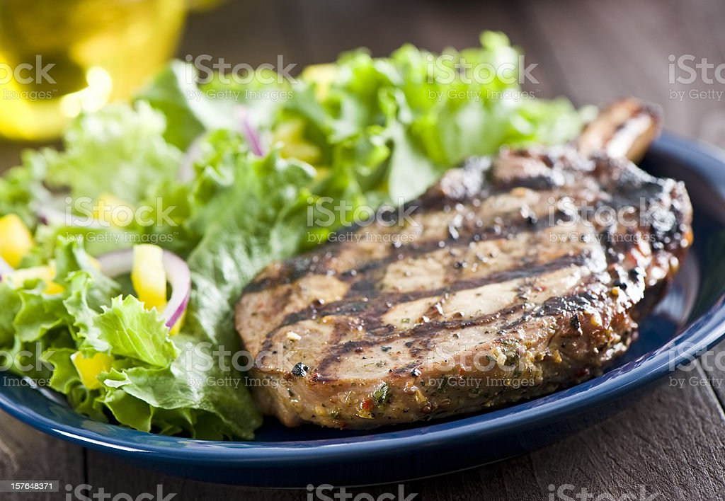 Grilled pork loin chop royalty-free stock photo