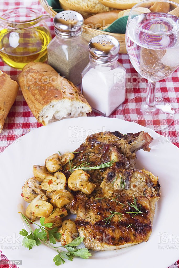 Grilled pork loin chops royalty-free stock photo