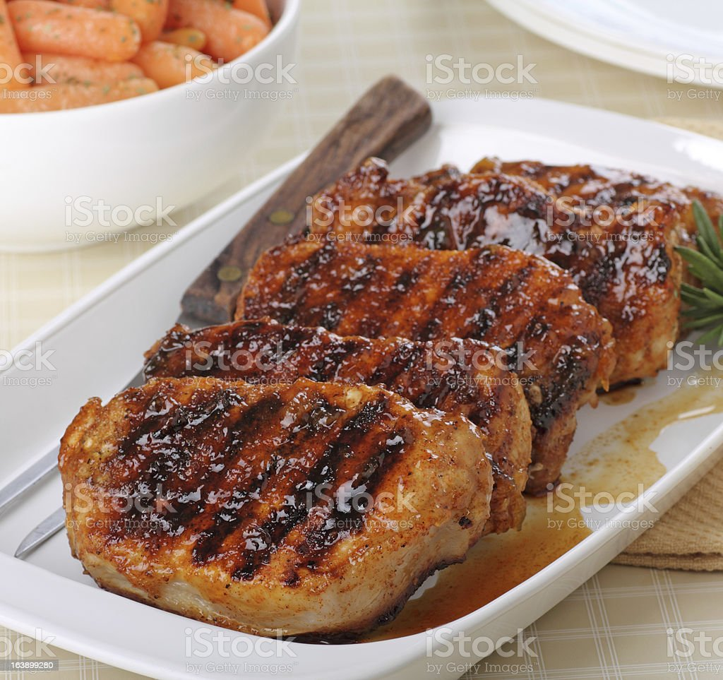 Grilled pork loin steaks on a plate stock photo