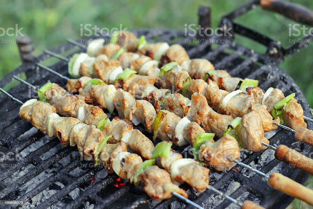 Grilled pork meat on stick, barbecued with vegetables royalty-free stock photo