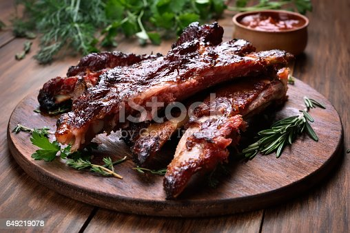 istock Grilled pork ribs 649219078