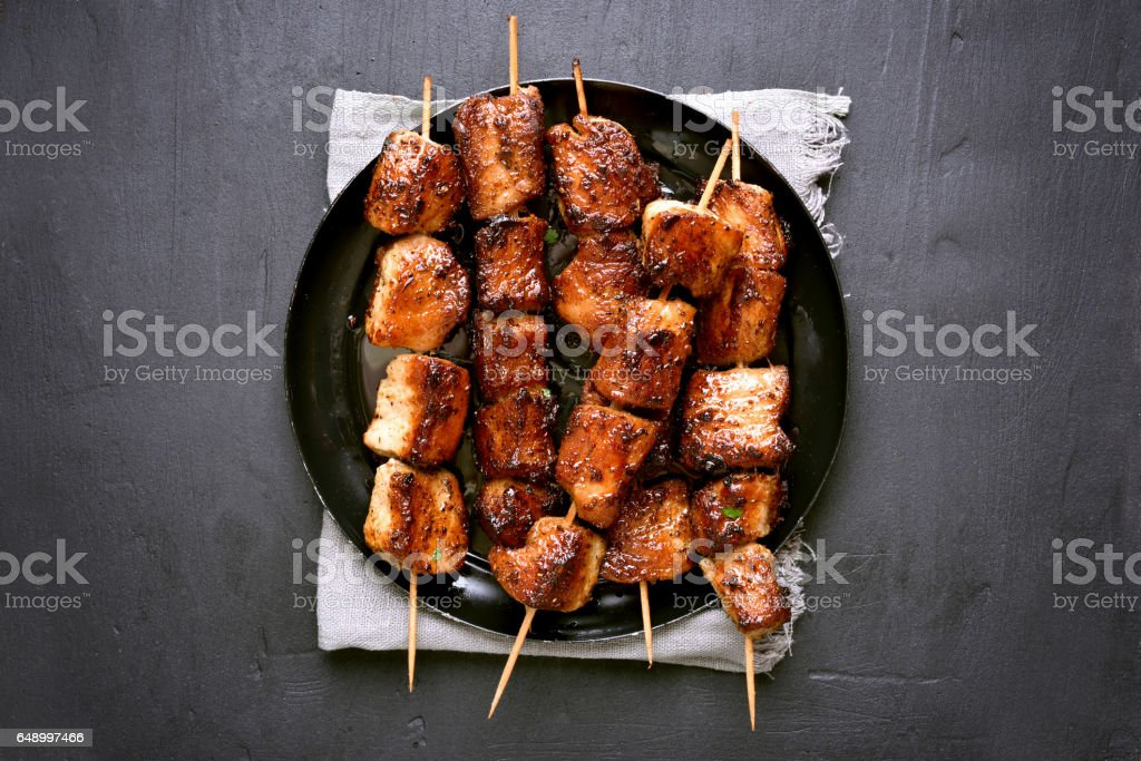 Grilled pork skewers stock photo