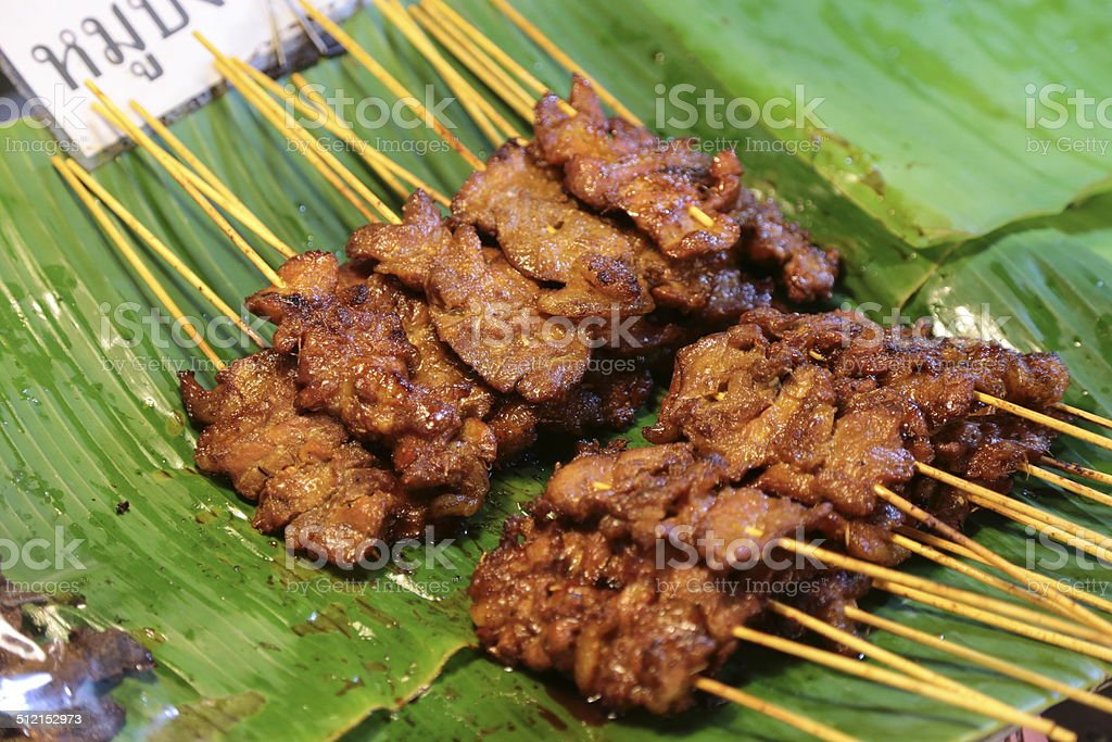 grilled Pork sold by street food vendor stock photo
