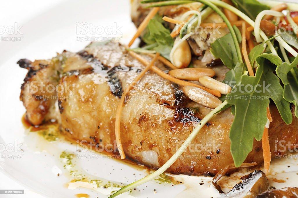 Grilled pork steak with vegetable garnish royalty-free stock photo