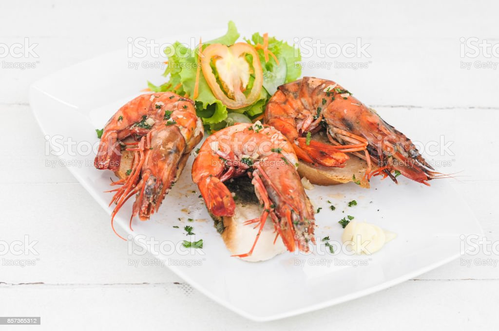 Grilled prawn with salad stock photo