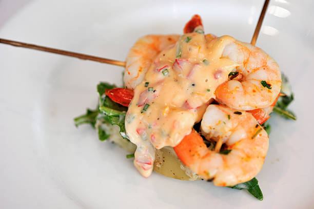 Grilled prawns appetiser, stock photo