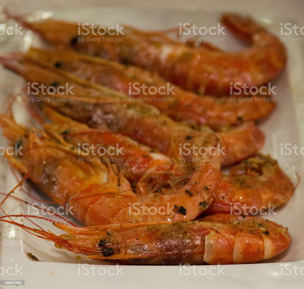 Grilled Prawns on the plate stock photo