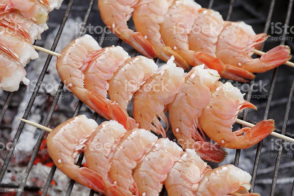 Grilled prawns royalty-free stock photo