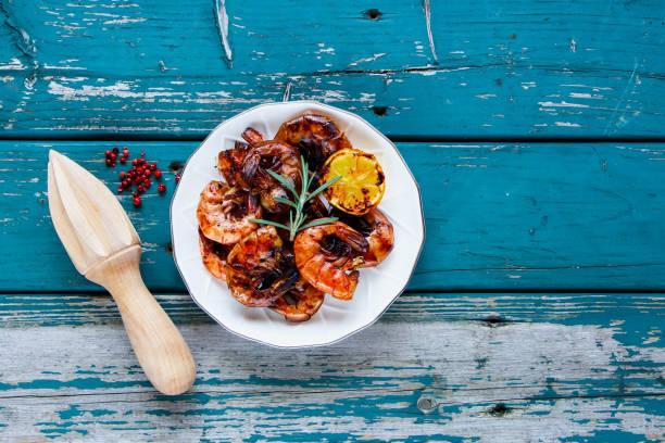 Grilled Prawns Shrimps stock photo