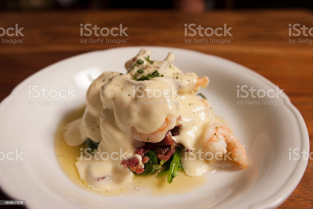 Grilled  Prawns with white sauce stock photo