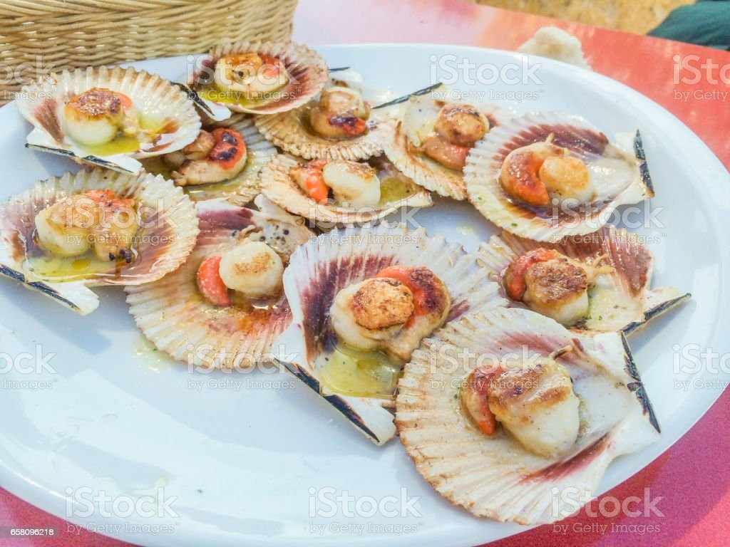 Grilled queen scallop royalty-free stock photo