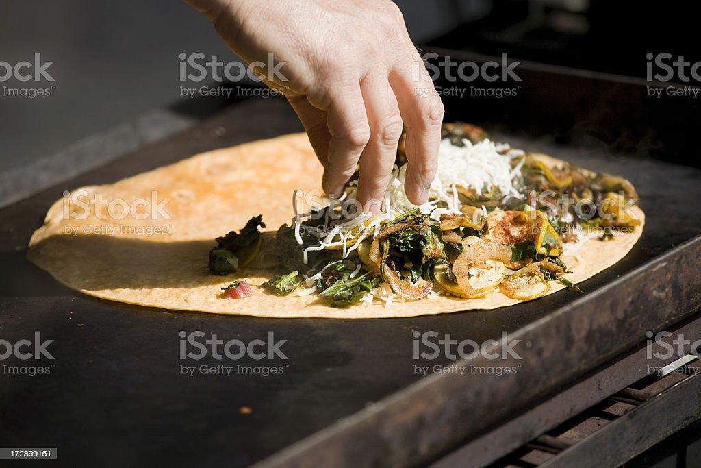 Grilled Quesadilla farmers street market royalty-free stock photo