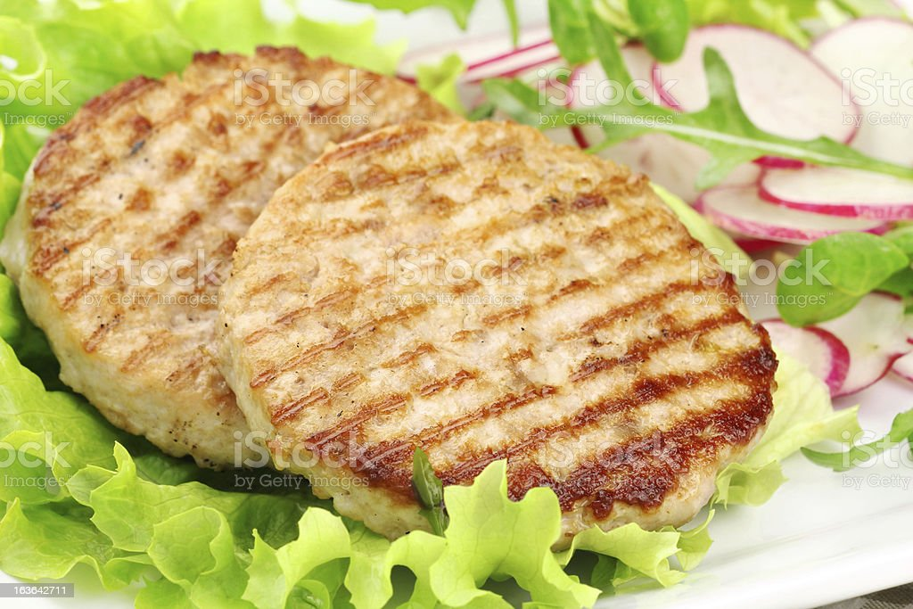 Grilled rabbit burgers royalty-free stock photo