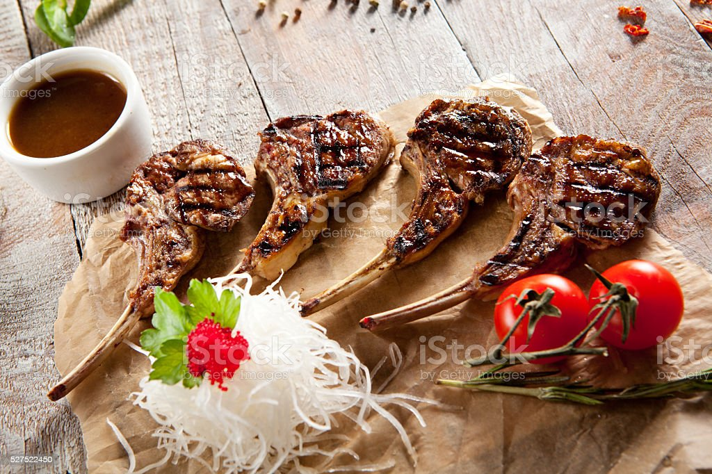 Grilled Rack of Lamb stock photo