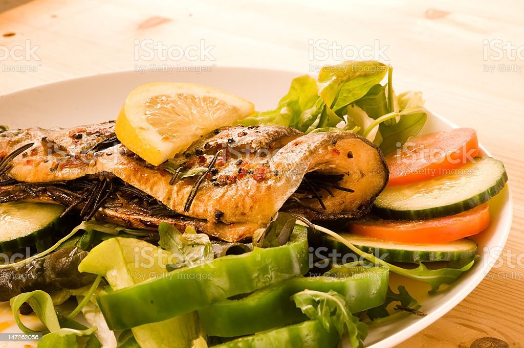 Grilled Rainbow trout. stock photo