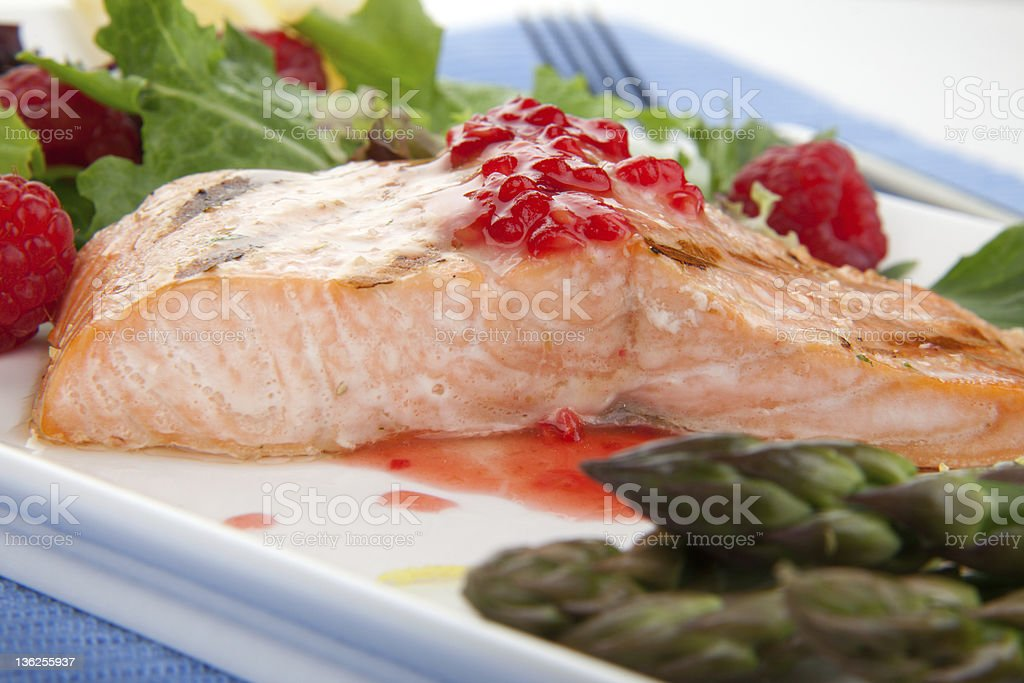 Grilled Raspberry Salmon stock photo