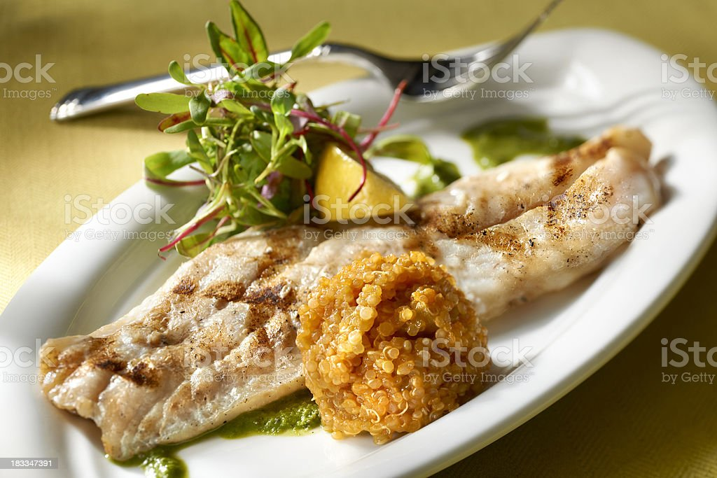 Grilled Red Snapper fillet with Quinoa and Baby Greens Salad stock photo