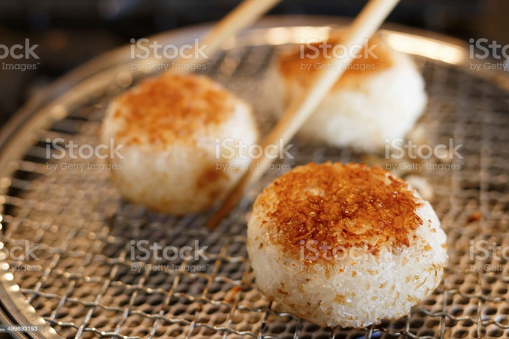 grilled rice ball stock photo