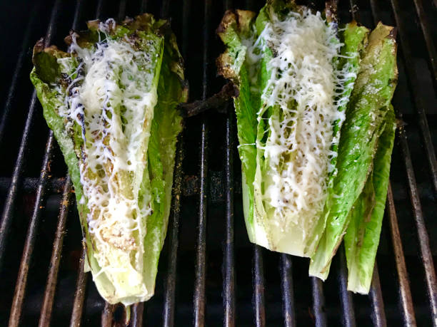 Grilled Romaine Lettuce Grilled romaine lettuce on gas grill. romaine lettuce stock pictures, royalty-free photos & images