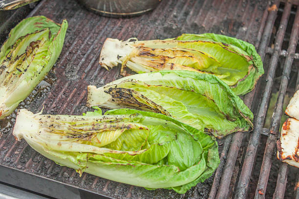 Grilled romaine salad Grilled, green romaine salad, on a barbeque romaine lettuce stock pictures, royalty-free photos & images