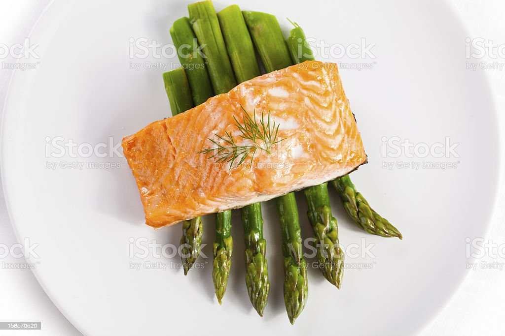 Grilled salmon and asparagus stock photo