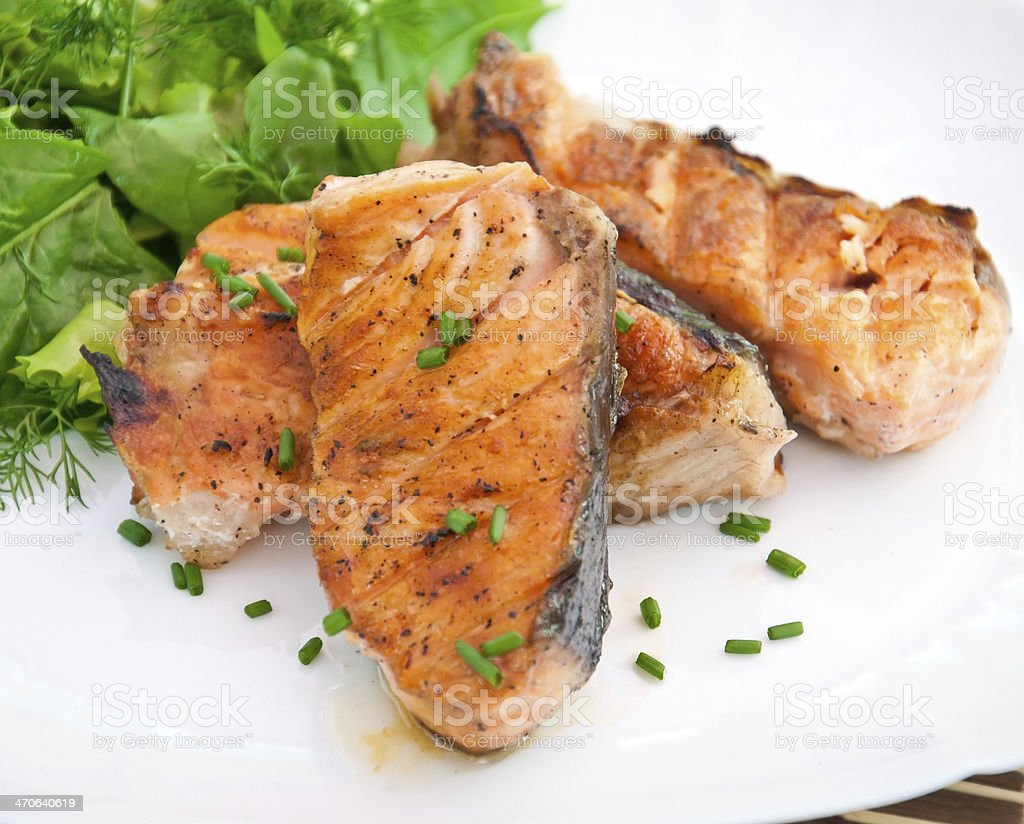 grilled salmon and salad royalty-free stock photo