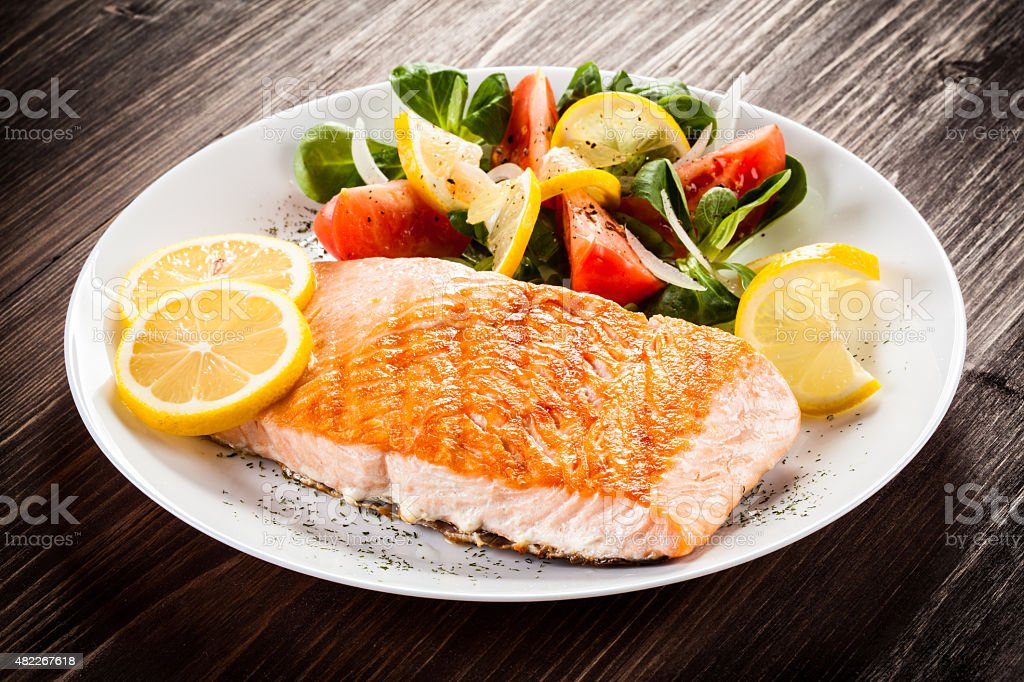 Grilled salmon and vegetables stock photo