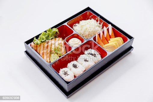 istock Grilled Salmon Bento with Salad, Kani and Tamagoyaki. 639092936