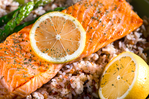 Grilled salmon over wild and brown rice.