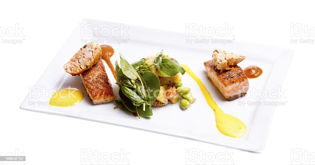 Grilled Salmon Dinner royalty-free stock photo