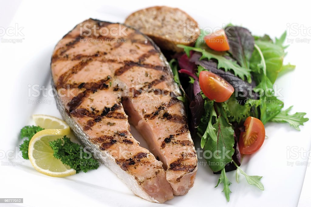 Grilled Salmon Dinner stock photo