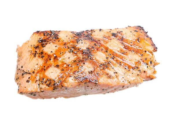 grilled salmon filet, isolated on white - warm bereid stockfoto's en -beelden