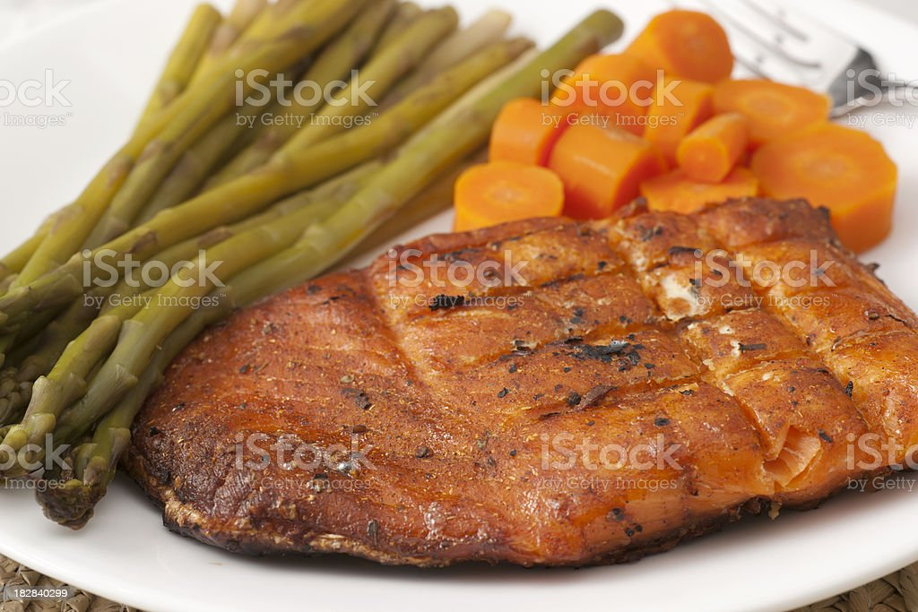 grilled salmon fillet dinner with vegetables royalty-free stock photo