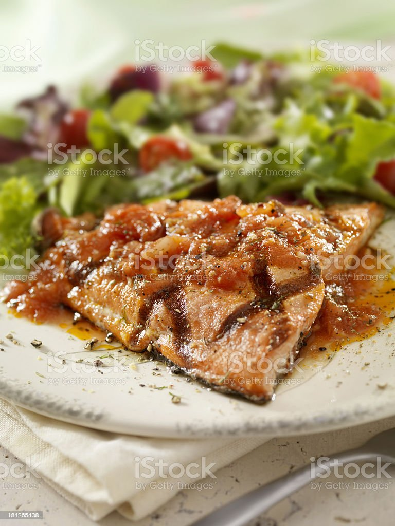 BBQ Grilled Salmon Fillet royalty-free stock photo