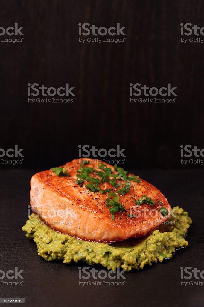 Grilled salmon fillet with avocado mash zbiór zdjęć royalty-free